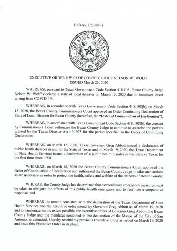 COVID-19 Bexar County Executive Order, March 24th