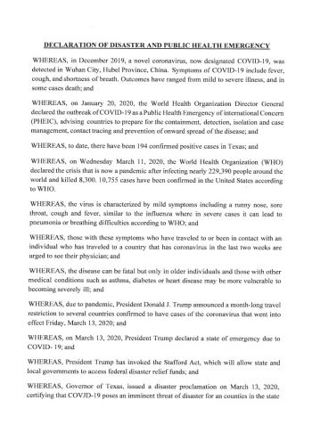 Declaration of Disaster and Public Health Emergency - Amended 3/26