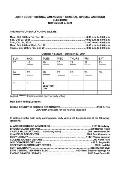 Early Voting Dates and Times for November 2 2021 Election